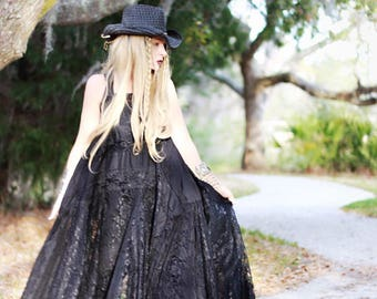 L Stevie Nicks Style Velvet Gypsy Dress, 24 Karat Gold, boho clothing, 70s sundress, Gypsy soul lace dress, Dresses, True rebel clothing