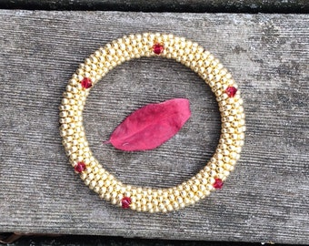 Bracelet Gold and Ruby Red Swarovski Crystals Bangle Bracelet Handmade Gift Bead Crochet