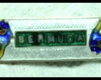"""1920 Art Nouveau Enamel Souvenir Pin """"Bermuda"""" Sterling Silver with Fish Free Shipping"""