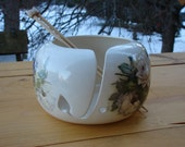White Roses & Purple Violets! on an Adorable  Ceramic Yarn Bowl / Yarn Holder
