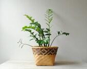 Vintage Bamboo Basket, Plant Basket, Storage Basket