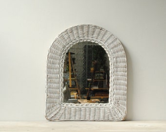 Vintage Wicker Mirror, White Wicker Mirror, Wall Mirror