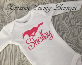 Mustang hot pink snap-tee, snapsuit, body suit, or one-piece choice of name, custom embroidered to your order, choice of name