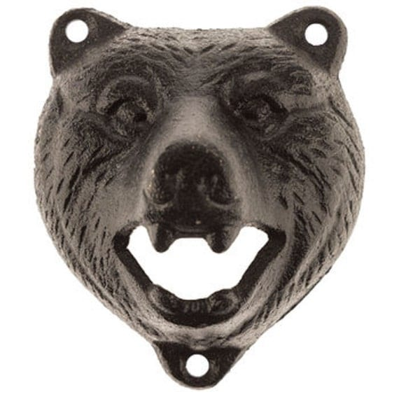 black bear bottle opener rustic western americana decor. Black Bedroom Furniture Sets. Home Design Ideas