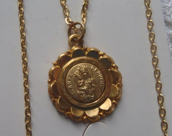 Vintage Medal Necklace St. Anne de Beaupre and Basilica