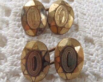 Vintage Cuff Links Tiny Engraved Gold Tone Ovals