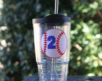 Personalized 24 oz acrylic Insulated cup and straw with Baseball and jersey number - Makes a great gift