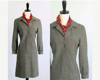 1960s Dress 60s Dress Vintage Pendleton Dress Black White Dress Shirt Dress Checked Dress Shift Dress Winter Dress Long Sleeves Wool Small