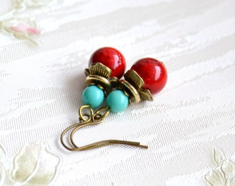 Read and turquoise jewelry Red earrings with blue beads Bohemian jewelry Boho earrings Gypsy jewelry gift for her Dangle earrings