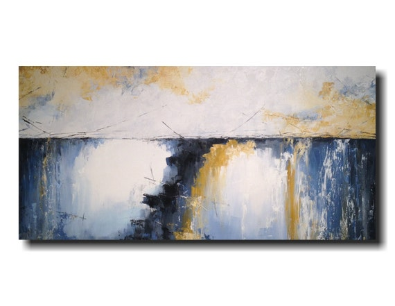 Large Abstract painting - 24 X 48 -  JMJartstudio-Serenity -Wall art - Blue painting