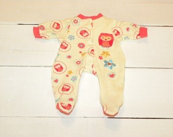 Little Owl Patterned Yellow Footed Sleeper - 14 - 15 inch doll clothes
