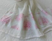 Gorgeous  Watercolor Cabbage Roses in Pink  Shabby Roses On White  Fabric Trimmed Flour Sack Towel Kitchen Towel Tea Towel All Cotton