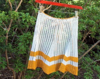 Vintage Half Apron, Crochet, Orange and White