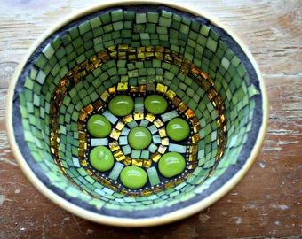 Mosaic Bowl, Stained Glass, Mirror, Green Apple, For The Home, Mosaic Stained Glass, Great Gift, Centerpiece, Recycled - 5.5 x 3.5 Inches