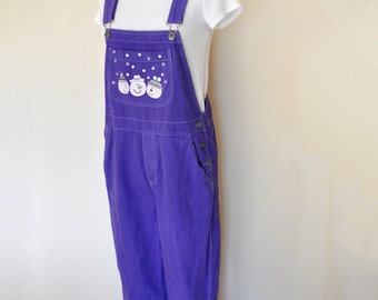 Purple Medium Bib OVERALL Pants - Violet Dyed Upcycled Christopher & Banks Cotton Denim Overall - Adult Womens Size Medium (36W x 31 L)