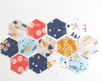 1 Inch English Paper Piecing 32 Hexagon Fabric and Paper, Daswood Studio Paper Meadow.