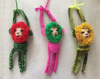 Mexican  Embroidered Hanging Monkeys for Pompoms and Tassels