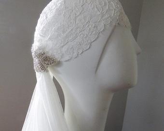 """Lace Cap, Lace Juliet Cap, Vintage lace cap, Silk Drop Veil 45"""" Lace and Crystal Bridal Cap"""