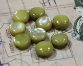 Dyed Mother of Pearl Chartreuse 3/8 Shank Button 9 MOP Green Buttons
