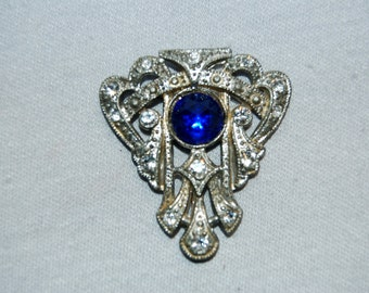 Vintage / Antique / Victorian / Rhinestone / Brooch / Cobalt / Blue / Clear / C Clasp / Collectible / old jewelry