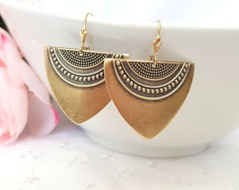 Antique Gold Art Deco Earrings, Statement Earrings, Gold Earrings, Geometric Earrings, Ethnic Earrings, Boho Earrings, Plated or Gold Filled