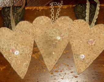 Sweet Vintage Lace Embellished Heart Ornament Set of 3 (small) Set B