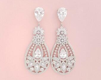 Crystal Wedding Earrings Bridal Jewelry Large Crystal Bridal Earrings Cubic Zirconia Drop Earrings Chandelier Earrings, Anastasia