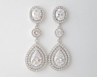 Wedding Earrings Teardrop Bridal Jewelry Cubic Zirconia Earrings Crystal Bridal Earrings Wedding Jewelry, Joni Earrings