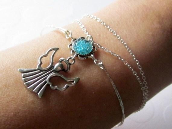 Angel Wrap Bracelet Angel Charm Bangle Silver Chain Wrap Bangle Angel Wing Arm Cuff Guardian Angel Halo Bracelet Bangle Stained Glass
