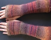 Fingerless Gloves - Arm Gloves - Women's Gloves - Hand-Knit Gloves - Arm-Length Gloves - Red, Brown, Grey, and Gold Gloves - Striped Gloves