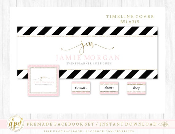 Premade DIY Facebook Set | Facebook Timeline | Facebook Package | Facebook Graphics | Business Branding | INSTANT DOWNLOAD-TR593