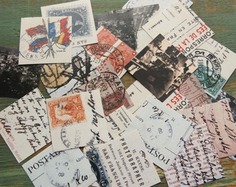"European Vintage Postcard Stickers, 1.5"" or 2"" squares, Travel stickers, postcard envelope seals, planner stickers, Eco-Friendly Stickers"