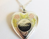 """ON SALE Pretty Vintage Sterling Silver Heart Locket Necklace """"I Love You"""""""