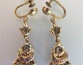 ON SALE Beautiful Antique Edwardian 9K Gf Dangle Earrings
