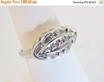 ON SALE Vintage 1930's 14K White Gold & Diamond Ring