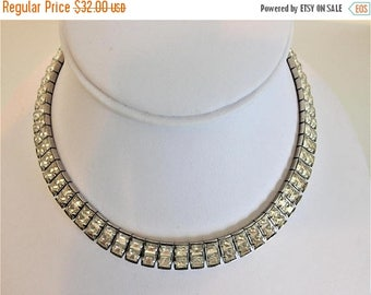 ON SALE Beautiful Vintage Clear Rhinestone Choker Necklace
