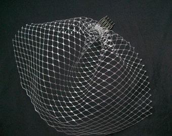 Metallic Silver Short Birdcage Blusher Veil - Wedding Party Art Deco  - Made to Order