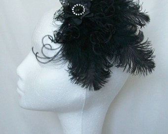 Black Ostrich Feather and Crystal Gothic Victorian Vintage Style Hair Clip Fascinator Headpiece- Made to Order