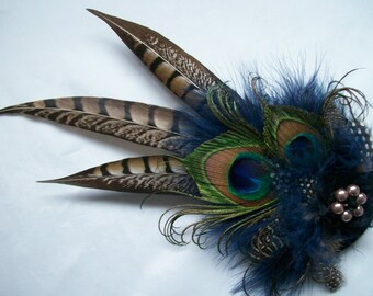 Navy Blue & Mink Nude Brown Rustic Pheasant and Peacock Feather Steampunk Wedding Fascinator Percher Hat - Made to Order