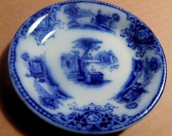Antique Flowblue Butter Pat Grindley England Shanghai Pattern