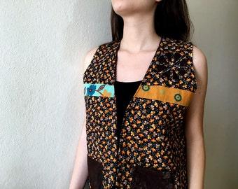 Waist Coat, Reversible Waistcoat, Boho Flower Vest, Bohemian Clothings, Sleeveless tops Size XL