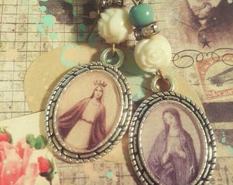 Devotional Religous Assemblage Mother Mary Teal Vintage Pearly Danlge Earrings Upcycled Recycled