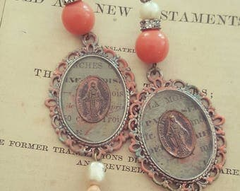 Bohemian Gypsy Religious Medal Mother Mary Spirituality Jewelry Dangle Earrings Upcycled Recycled