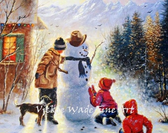 Snowman Three Children Art Print, three kids, snowman paintings, snowman art, christmas wall art, painting, happy snowman, Vickie Wade Art