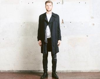 Men's TRENCH Coat . size Large L . Vintage Black Detective 80s Raincoat Topcoat 1980s Long Duster Jacket Outerwear