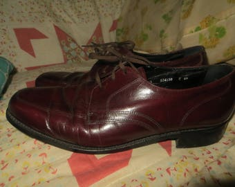vintage mens  cordovon red / brown Florsheim casual  laceup oxfords  shoes  sz 10.5