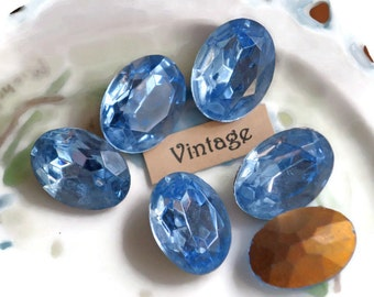 Vintage Oval stones,18x13mm stones,Light Sapphire stones,Blue Gold Foiled Pointed Back Faceted Glass Cabochons Cabs Jewels #912A