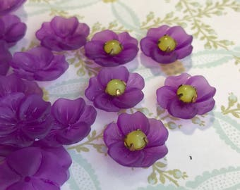 Vintage Flower Beads Lucite 14mm Shabby Floral Grape Purple Posey Bead Caps N719