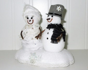 Snowman Snow Bride and Groom Winter Cake Topper