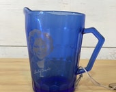 Vintage Blue Cobalt Glass Shirley Temple Pitcher